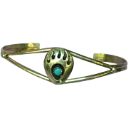 Native American Indian Bear Paw Cuff  Sterling Silver Turquoise Bracelet