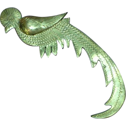Sterling Silver Etched Mexican Quetzal Bird Pin Brooch
