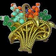 Jeanne Marked Large Flower Basket Art Glass Pin Brooch