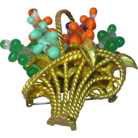 Jeanne Marked Large Flower Basket Art Glass Pin Brooch