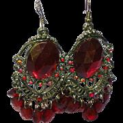 Rhinestones Ruby Red Large Japanned Pierced Dangle Earrings