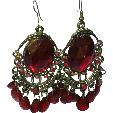 Rhinestones Ruby Red Large Japanned Pierced Dangle Earrings