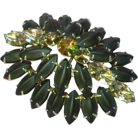 Watermelon Rivoli Rhinestone Black Satin Glass Domed Brooch Pin