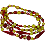 Murano Italian Art Glass Red Yellow Long Bead Necklace