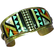 Native American Indian Zuni Inlaid Sterling Silver Cuff Bracelet - Red Tag Sale Item