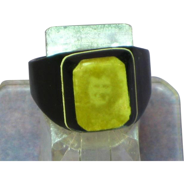 Black  Celluloid Lady Photograph Prison Photo Ring