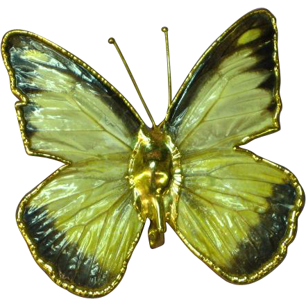 Butterfly REAL Hawaiian 14K Gold Dipped Pin Brooch Pendant
