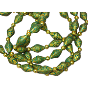 Heavy Hard Plastic Green & Gold Molded Beads Gold Tone Beads Long Necklace