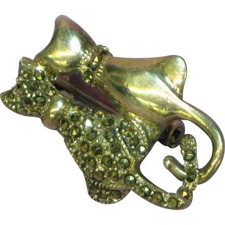 Deco Sterling Silver Marcasite Two Lovers Cat Pin Brooch