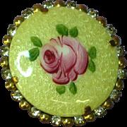 Guilloche Enamel Hand Painted Rose Rhinestones Pin Brooch