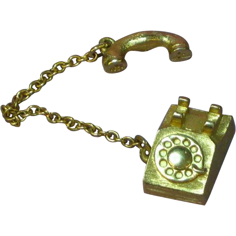 Avon Goldtone Telephone Charm or Pendant