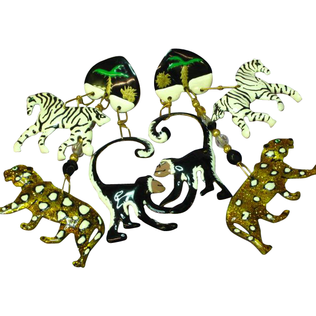 Lunch at the Ritz Out of Africa Enamel Couture Pierced Earrings  Leopard Monkey Zebra Signed