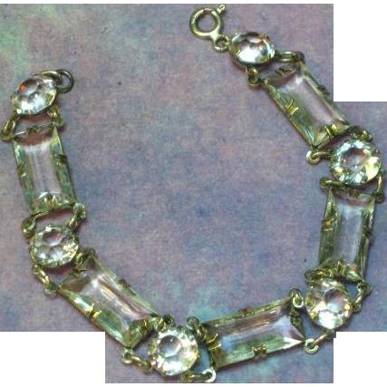 Art Deco Sterling Silver Faceted Quartz Rock Crystal Open Back Bracelet