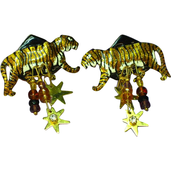 Lunch at the Ritz  African Jungle Stalking Tiger Dangle Pierced Earrings