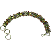 Gemstones Citrine Amethyst Peridot Garnet Sterling Silver Link Bracelet