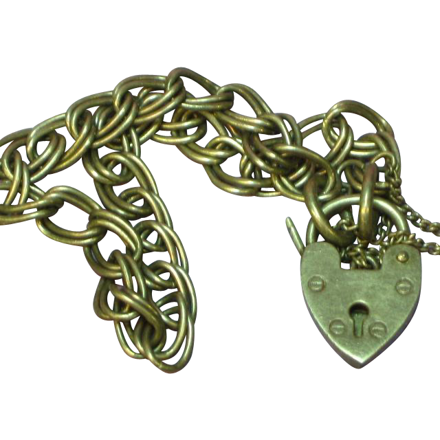 English Hallmarked Heart Lock Sterling Charm Double Link Bracelet