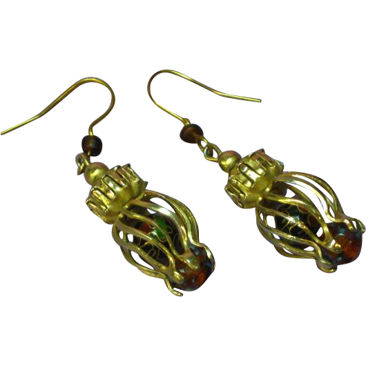 Cloisonne  Caged Bead  Dangle Drop Gold Tone Filigree Pierced Earrings