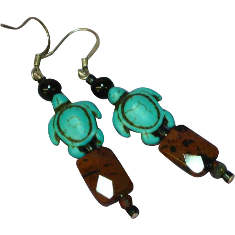 Gemstones Mahogany Jasper Onyx Turquoise Dangle Drop Sterling Silver Pierced Earrings