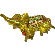 Sphinx England Rhinestones Jeweled Figural Elephant Brooch Pin