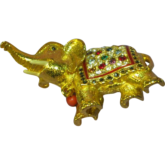 Sphinx England Rhinestones Jeweled Figural Elephant Brooch Pin