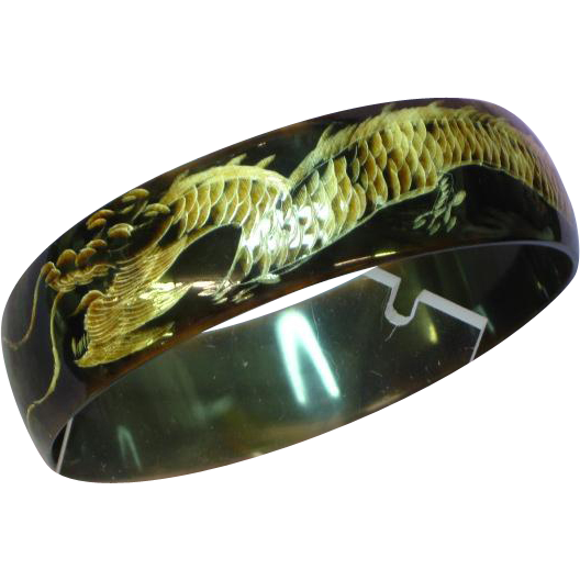 Carved Dragon Horn Chunky Bangle Bracelet