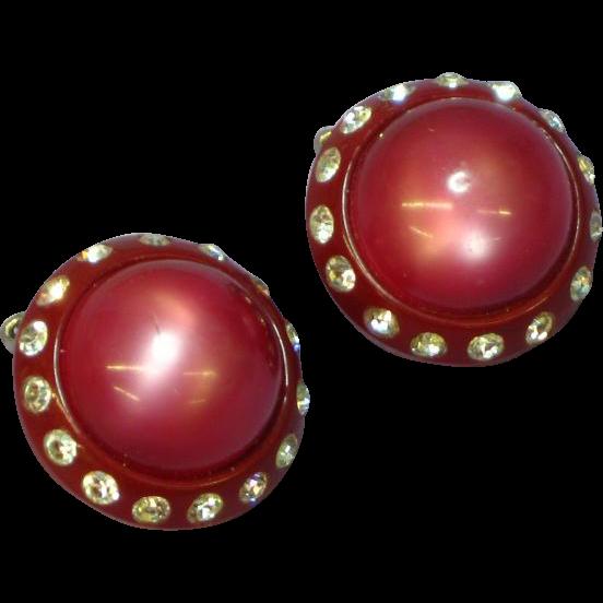 Lucite Moonglow Dark Pink Rhinestone Clip Earrings