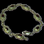 Gemstones Sterling Silver Genuine Garnet Link Bracelet
