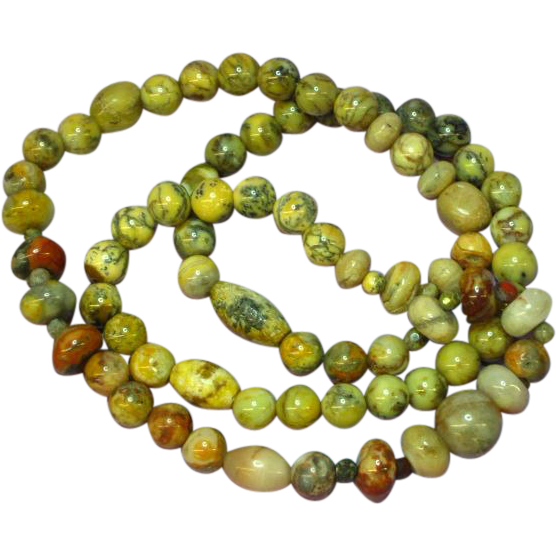 "Fancy Natural Stone Indian Agate 22"" Bead Necklace"
