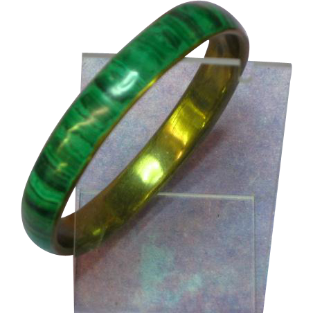 Gemstones Malachite Brass Bangle Bracelet
