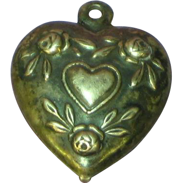 Puffy Heart Sterling Silver Repousse Heart Roses and Leaves Charm