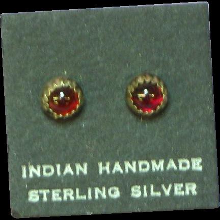 American Indian Sterling Silver Garnet Post Pierced Earrings