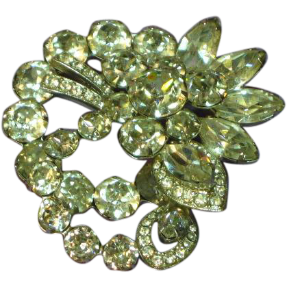 Exquisite Eisenberg Clear Crystal Vintage Rhinestones Brooch Pin