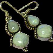 Genuine Gemstones Sterling Silver Labradorite Dangle Pierced Earrings