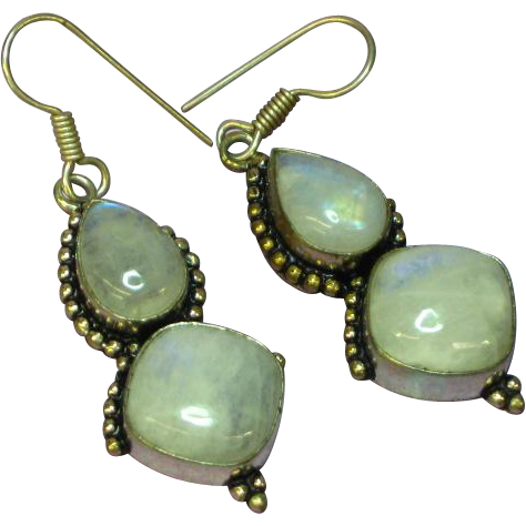 Genuine Gemstones Sterling Silver Labradorite Dangle Pierced Earrings