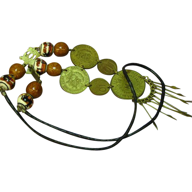 Peruvian Ceramic Beads Hand Painted Brass Coin Boho Ethnic Necklace