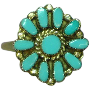 Native American Indian Sleeping Beauty Turquoise Petite Point Flower Ring