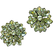 Weiss Signed Elegant Large Rhinestone Clip Earrings