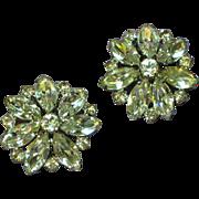 Weiss Signed Elegant Large Rhinestone Clip Earrings