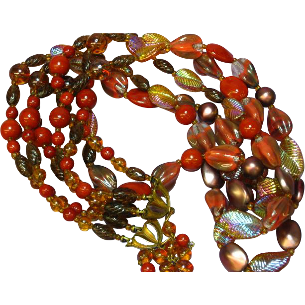Art Glass Golden Sunset Long Triple Strand Czech Necklace