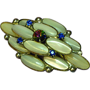 Watermelon Rivoli Rhinestones Mother of Pearl Pin Brooch