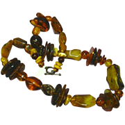 "Amber Natural Baltic Butterscotch, Egg Yolk, Mixed Magnificent Massive Amber 24"" Beaded Necklace"
