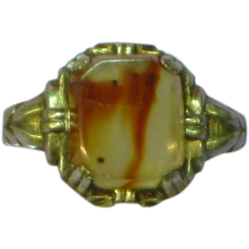 Gemstones Sterling Silver Agate Stone UNCAS c. 1940-50's Ring