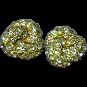 Blanca Signed Vintage Designer Swarovski Crystal Massive Clip Earrings