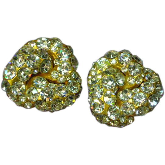 Blanca Signed Vintage Designer Swarovski Crystal Massive Clip Earrings