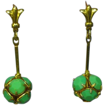 Vintage Gold Filled Green Turquoise Glass Rhinestone Cocktail Dangle Pierced Earrings