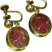 Old European Carved and Pierced Rubellite Tourmaline 1/20-18K Gold Filled Estate Jewelry Screw Back Earrings