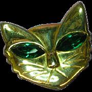 Rhinestones Cat Kitty Feline Green  Eyes Gold Tone Pin Brooch