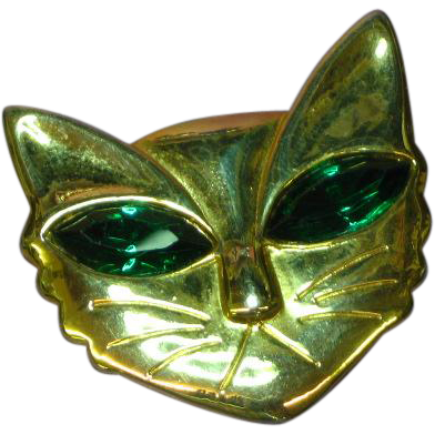 Rhinestones Cat Kitty Feline Green  Eyes Gold Tone Pin Brooch
