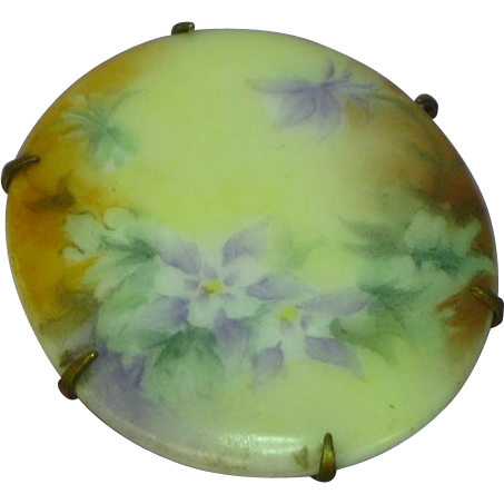 Hand Painted Floral Victorian Porcelain Brooch Pin