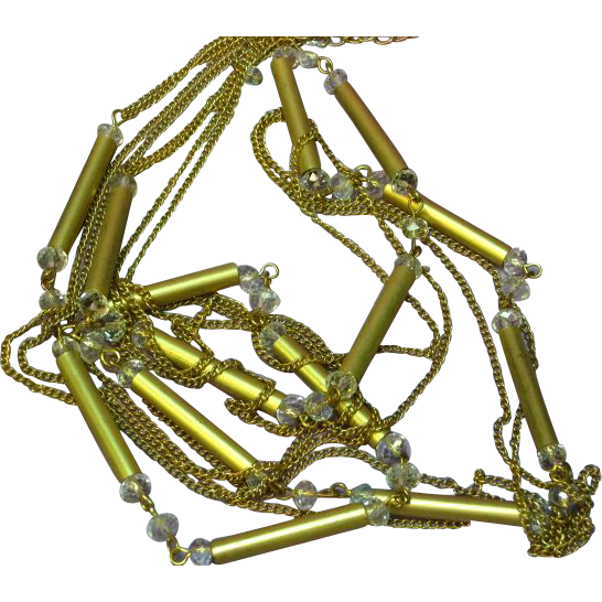 "Crystal Long Loose Lovely Gold Tone Chains  Sautoir 40"" Necklace"